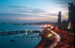 Skymningplats pf Panama City, Panama Royaltyfria Bilder
