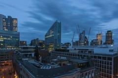 Skymningsikt av staden av London Arkivfoto