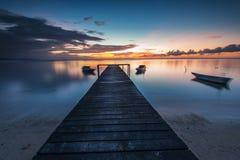 Skymningsikt på Indarason Laut Kudat Sabah Royaltyfri Foto