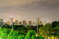 Skymningstadsscape bangkok Thailand arkivfoton