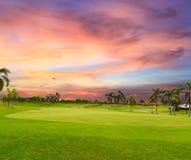 Skymningtid på golffält Arkivbild