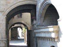 Skymt av den medeltida staden av Viterbo i Italien royaltyfria bilder