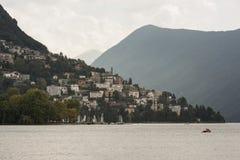 Skymt av staden av Lugano - Schweiz fotografering för bildbyråer