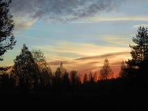 Skyon d'automne le crépuscule dans les forêts photographie stock libre de droits
