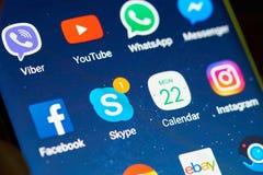Skype app στην οθόνη smartphone Στοκ Φωτογραφία