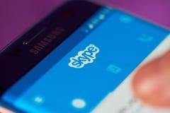 Skype application on modern smartphone Royalty Free Stock Photo