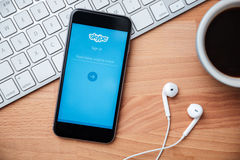 Skype is application that provide text chat video and calls Stock Images