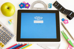 Skype on Ipad 3 with school accesories Royalty Free Stock Image