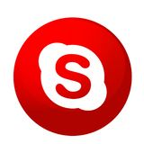 Skype logo icon in red vector element on white background. Skype logo icon vector in red element on white background. in ai10 illustrations stock illustration