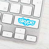 Skype logotype on the keyboard button Royalty Free Stock Photo