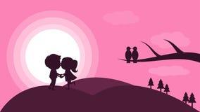 Skypink con ed uomo e donna illustrazione di stock