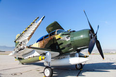 A-1 Skyraider with missiles Stock Images