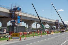 Skyrail elevated train tracks in Clayton South in suburban Melbourne. Melbourne, Australia - November 19, 2017: construction of the skyrail Metro train grade Royalty Free Stock Photos