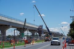 Skyrail elevated train tracks in Clayton South in suburban Melbourne. Melbourne, Australia - November 19, 2017: construction of the skyrail Metro train grade Royalty Free Stock Photo
