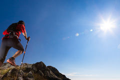 Skyrunning in mountain stock photo