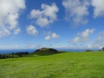 Skys asombroso azul sobre agitar a Emerald Grasslands Central Island en la isla grande de Hawaii Fotos de archivo libres de regalías