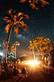Skys of Isla Fuerte. A night view of a fire in Isla Fuerte Stock Photo