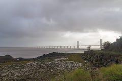 Skys temperamentais Severn Estuary fotografia de stock