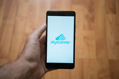Skyscanner logo on smartphone screen Royalty Free Stock Photos