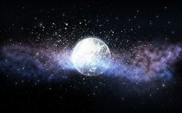 Planet and stars in space. Skyscape and astronomy concept - planet and stars in space Royalty Free Stock Photo