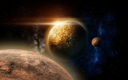 Planet and stars in space. Skyscape and astronomy concept - planet and stars in space Stock Photos