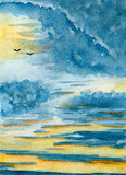 Skyscape. Birds silhouettes on the horizon, hand-drawn watercolor illustration and  paper texture Stock Photography