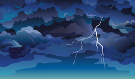 Skyscape with clouds and lightning. Royalty Free Stock Image