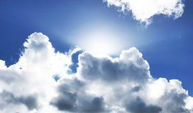 Skyscape för soluppgång för stråle för himmelmolnsol blåa himlar Royaltyfria Foton