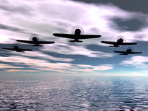 Skyscape with some planes. 3D render work Stock Photography