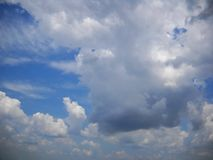 Skyscape with various light and dark clouds royalty free stock image