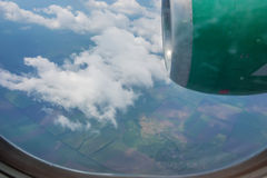 Skyscape viewed from airplane. Awesome skyscape viewed from board of airplane Royalty Free Stock Photo