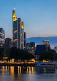 Frankfurt Skyline and Commerzbank Tower Reflection on Main River at Sunset Royalty Free Stock Photos