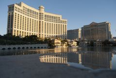Skyscapers at sunrise. Bellagio of Las Vegas royalty free stock photos