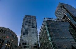 Skyscarpers de Canary Wharf Imagenes de archivo