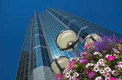 Skyscraper. Office tower above colourful flowers in urban centre of calgary, alberta stock images