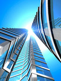 Skyscraper. Blue glass of skyscraper - 3d rendering Royalty Free Stock Photography