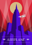 Skyscraper and airplane poster in art deco style. Vintage travel illustration Royalty Free Stock Images
