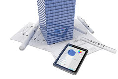 Skyscraper and tablet PC Stock Photography