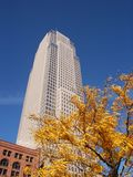 Skyscraper in autumn. Key Tower, Cleveland, Ohio, with autumn foliage royalty free stock photography