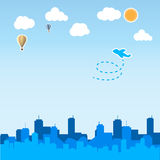 Skyscraper background with airplane and balloon Stock Images