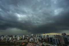The skyscraper on the background of rainy cloud. Sao Paulo city Brazil royalty free stock images