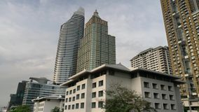 Skyscraper in Bangkok. Cityscape view of Bangkok modern office business building in business zone at Bangkok,Thailand stock footage