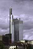 Skyscraper of a bank. Frankfurt in Germany at a cloudy and windy summerday Stock Photo