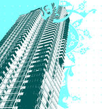Skyscraper And Blue Curves. Vector Illustration Stock Photography