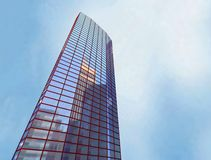 Skyscraper, building. Scayscraper 3d office red building Royalty Free Stock Photography