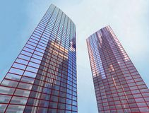 Skyscraper, building. 2 Scayscraper 3d office red building Royalty Free Stock Photography