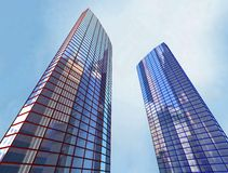 Skyscraper, building. 2 Scayscraper 3d office red blue building Stock Image