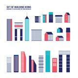 Skyscraper building icon set Stock Image