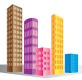 Skyscraper buildings. Illustrated colorful skyscraper buildings on white background Stock Photo
