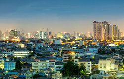 Skyscraper buildings in Bangkok under twilight sky Stock Image